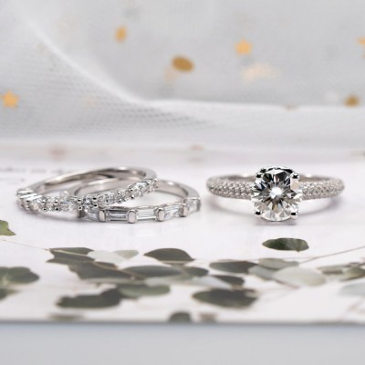 Round Cut White Sapphire Sterling Silver Stacking 3 Pieces Wedding Ring Sets