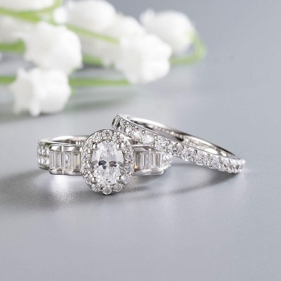 Vintage Oval Cut White Sapphire Sterling Silver Halo Bridal Sets