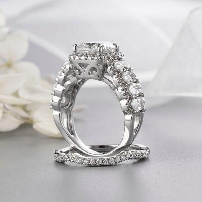 Cushion Cut White Sapphire Sterling Silver 2 Piece Halo Bridal Sets