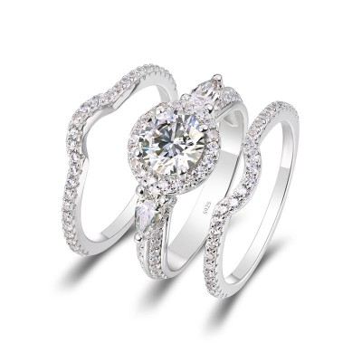 Round Cut White Sapphire Sterling Silver Three Stone Halo 3 Pieces Bridal Sets