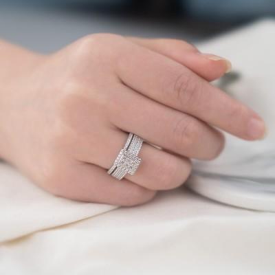 Princess Cut White Sapphire 925 Sterling Silver 2 Pieces Halo Bridal Sets