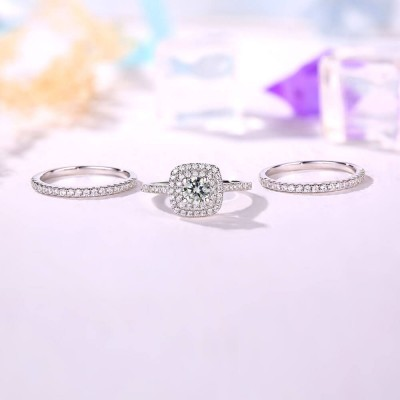 Round Cut White Sapphire 3 Piece 925 Sterling Silver Halo Bridal Ring Sets