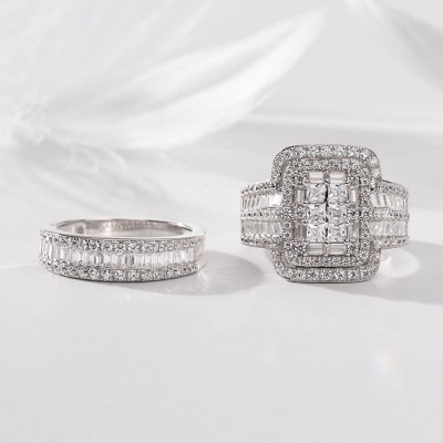 Princess Cut White Sapphire 925 Sterling Silver 2 Pieces Halo Bridal Sets