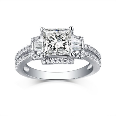 Princess Cut Three-Stone White Sapphire 925 Sterling Silver Engagement Rings