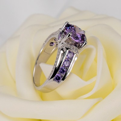 Round Cut Amethyst 925 Sterling Silver Engagement Ring