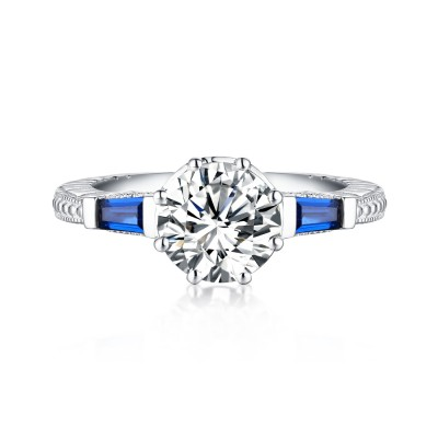 Round Cut S925 Silver Sapphire & White Sapphire Engagement Rings