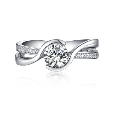 Round Cut White Sapphire 925 Sterling Silver Engagement Rings