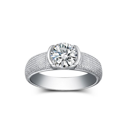 Fabulous Round Cut White Sapphire 925 Sterling Silver Engagement Rings