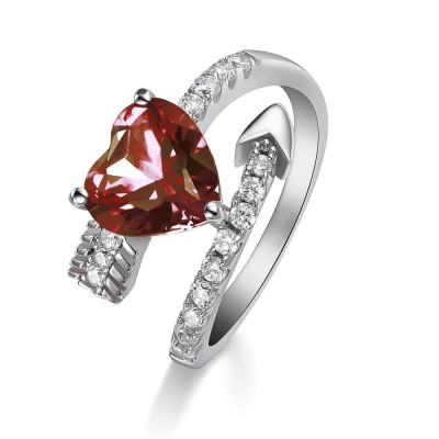 Heart Cut Ruby 925 Sterling Silver Promise Rings