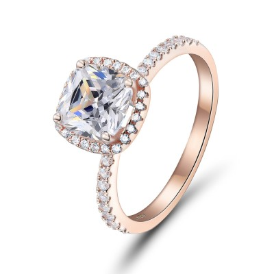 Cushion Cut Rose Gold 925 Sterling Silver Engagement Ring