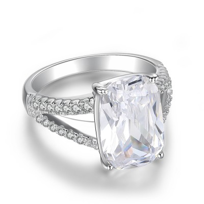 Cushion Cut Gemstone 925 Sterling Silver Engagement Ring