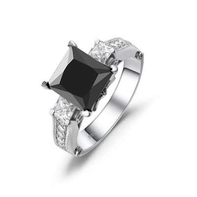 Princess Cut Black Gemstone 925 Sterling Silver Engagement Ring
