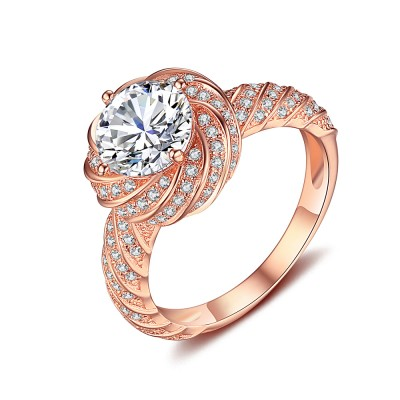 Round Cut White Sapphire Rose Gold 925 Sterling Silver Engagement Ring