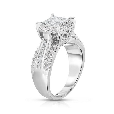 Princess Cut White Sapphire Sterling Silver Halo Bridal Engagement Rings