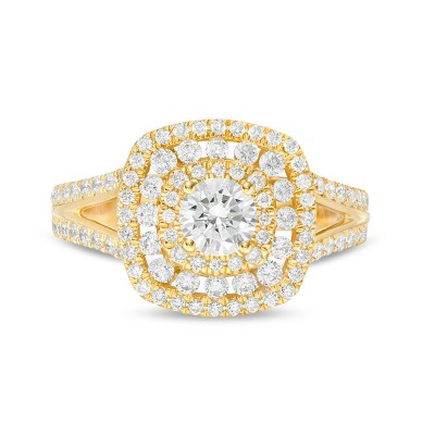 Gold Round Cut White Sapphire 925 Sterling Silver Halo Engagement Ring