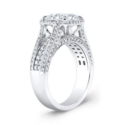 Brilliant Round Cut White Sapphire Sterling Silver Halo Engagement Ring