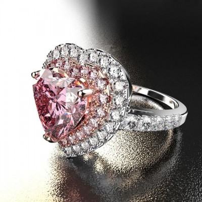 Heat Cut Pink Sapphire Sterling Silver Double Halo Engagement Ring