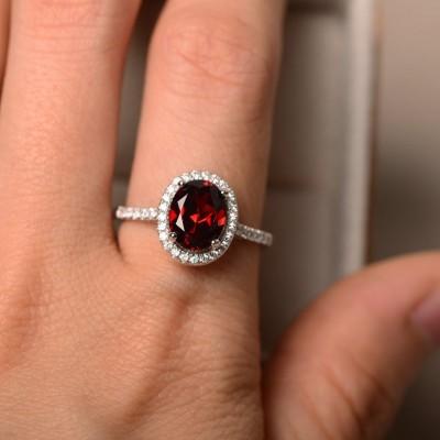 Vintage Oval Cut Garnet 925 Sterling Silver Halo Engagement Ring