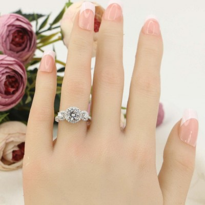 Round Cut White Sapphire 925 Sterling Silver Halo 3-Stone Engagement Ring