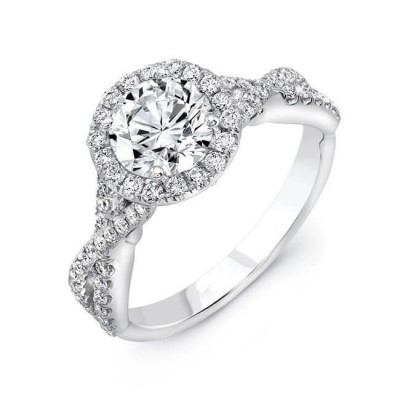 Twisted Round Cut White Sapphire 925 Sterling Silver Halo Engagement Ring