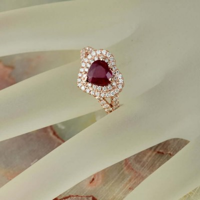 Rose Gold Heart Cut Ruby Sterling Silver Double Halo Engagement Ring