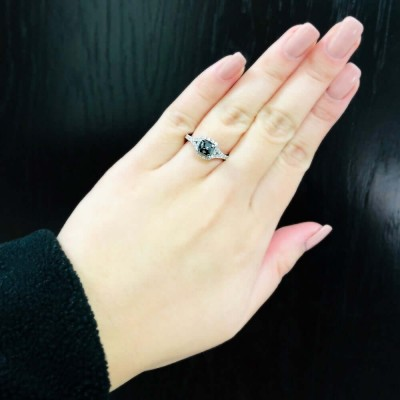 Cushion Cut Black Sapphire Sterling Silver Halo Engagement Ring