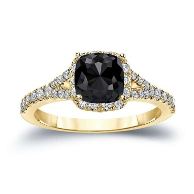 Gold Cushion Cut Black Sapphire Sterling Silver Halo Engagement Ring