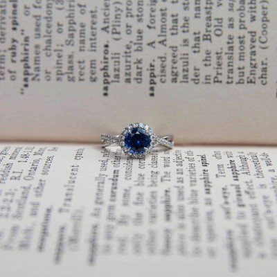 Round Cut Blue Sapphire Sterling Silver Twisted Halo Engagement Ring