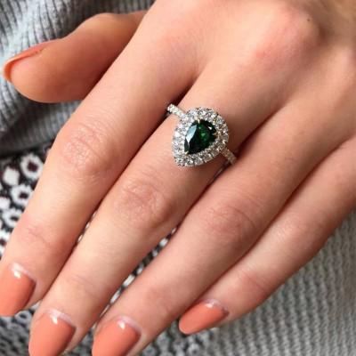 Pear Cut Emerald 925 Sterling Silver Double Halo Engagement Ring