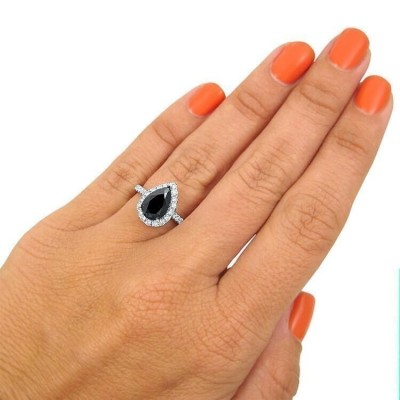 Classic Pear Cut Black Sapphire 925 Sterling Silver Halo Engagement Ring
