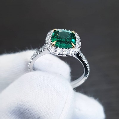 Cushion Cut Emerald 925 Sterling Silver Halo Engagement Ring