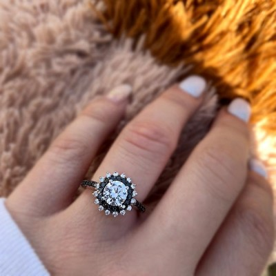 Classic Round Cut White Sapphire 925 Sterling Silver Halo Engagement Rings