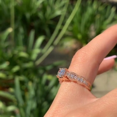 Vintage Rose Gold Round Cut White Sapphire Solitaire Sterling Silver Engagement Ring