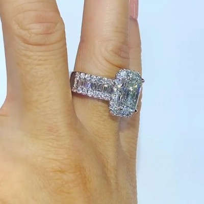 Radiant Cut White Sapphire 925 Sterling Silve Halo Engagement Ring