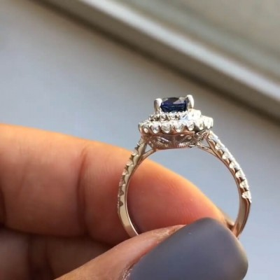 Pear Cut Blue Sapphire Sterling Silver Double Halo Engagement Ring