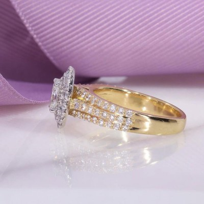 Gold Oval Cut White Sapphire Sterling Silver Double Halo Engagement Ring