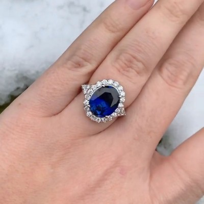 Vintage Oval Cut Blue Sapphire Sterling Silver Halo Engagement Ring
