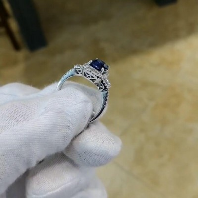 Radiant Cut Blue Sapphire Sterling Silver Three-Stone Engagement Ring