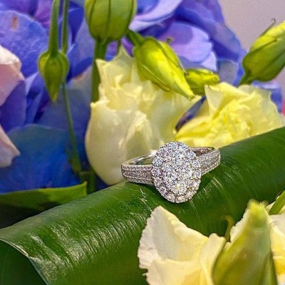 Oval Shape Round Cut White Sapphire Cluster Sterling Silver Engagement Ring