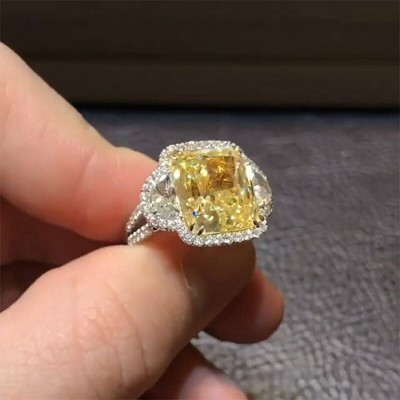 Radiant Cut Topaz 925 Sterling Silver Halo Three Stones Engagement Ring