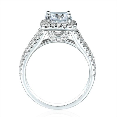 Round Cut White Sapphire 925 Sterling Silver Split Halo Engagement Ring