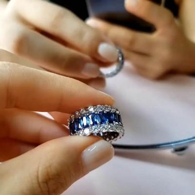 Eternity Emerald Cut Blue Sapphire Sterling Silver Tripe Row Women's Wedding Band