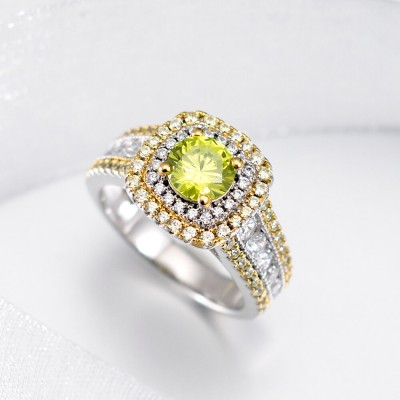 Round Cut Peridot 925 Sterling Silver Double Halo Engagement Ring