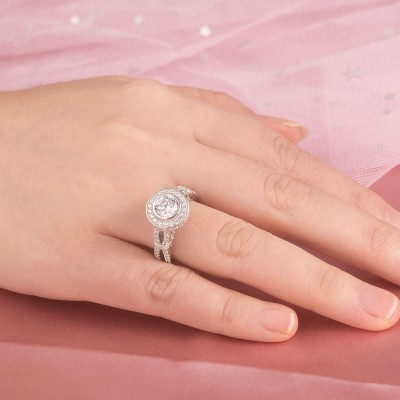 Knot Round Cut White Sapphire Sterling Silver Halo Engagement Ring
