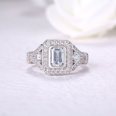 Emerald Cut White Sapphire Sterling Silver Halo Engagement Ring