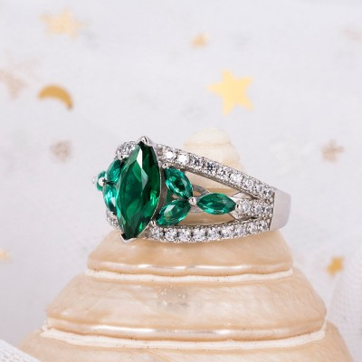 Vintage Marquise Cut Emerald 925 Sterling Silver Engagement Ring
