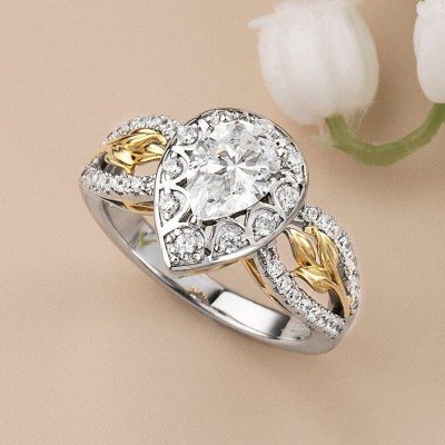 Pear Cut White Sapphire 925 Sterling Silver Two-Tone Gold Flower Inspired  Engagement Ring
