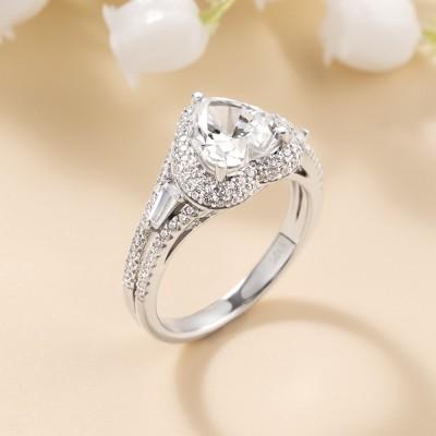 Heart Cut White Sapphire Split Shank Sterling Silver Halo Engagement Ring