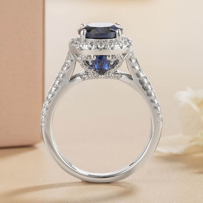 Oval Cut Blue Sapphire 925 Sterling Silver Halo Engagement Ring