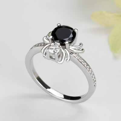 Round Cut Black Sapphire Sterling Silver Spider Ring